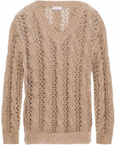 Хлопковый открытый свитер с пайетками Brunello Cucinelli
