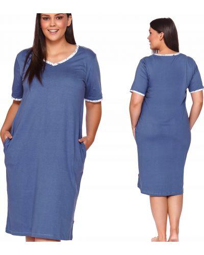 Niebieska koszula nocna bawełniana krótki rękaw Doctor Nap