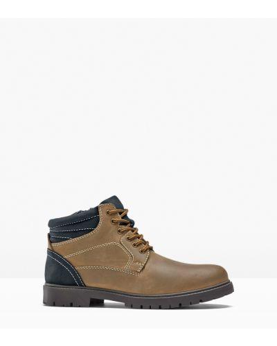 Кожаные ботинки - коричневые Bonprix
