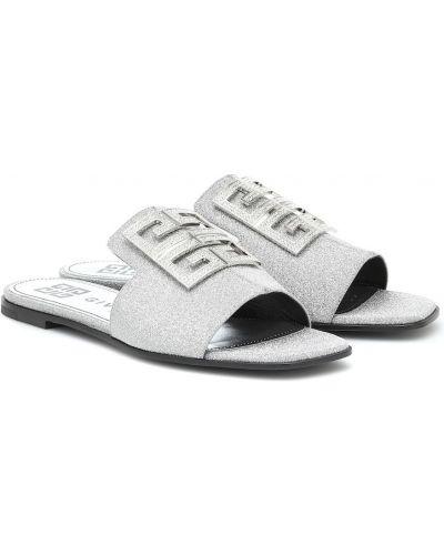 Biały sandały z prawdziwej skóry z brokatem Givenchy