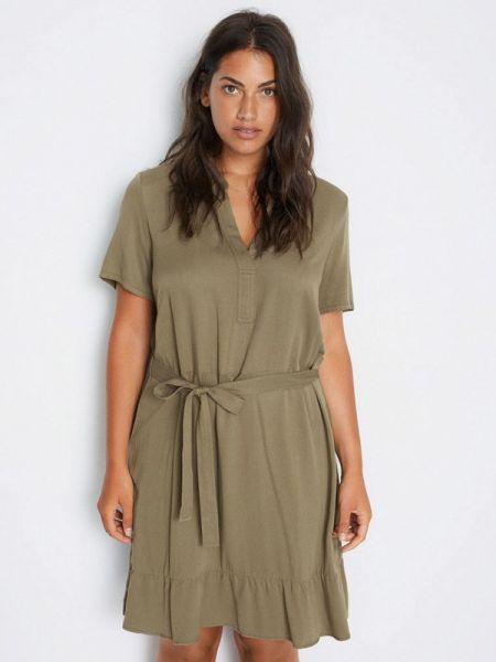 Повседневное платье осеннее зеленый Violeta By Mango