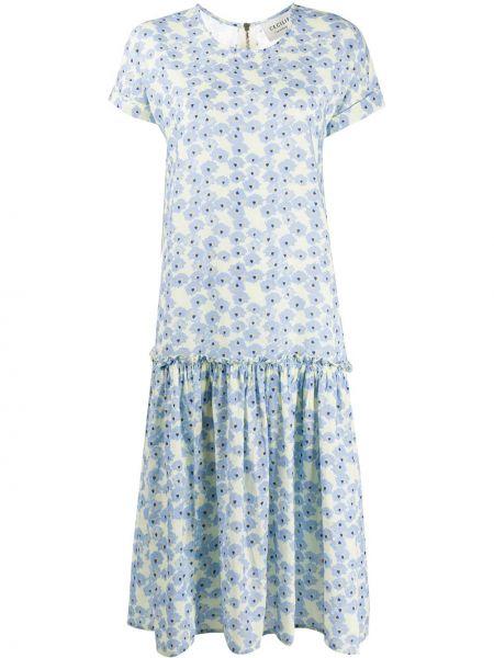 Синее платье с рукавами с короткими рукавами круглое с круглым вырезом Cecilie Copenhagen