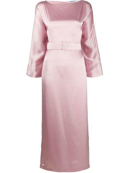 Платье с поясом розовое с рукавами Bernadette