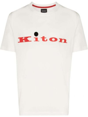 Прямая хлопковая белая футболка Kiton