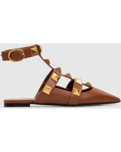 Коричневые кожаные сандалии Valentino