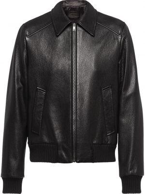 Классическая черная куртка на молнии в рубчик Prada