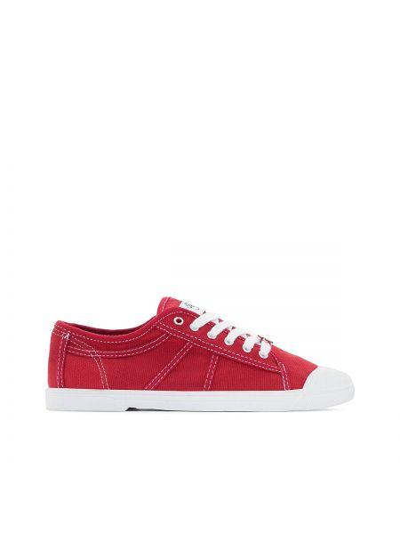 Красные спортивные текстильные кроссовки на каблуке Le Temps Des Cerises