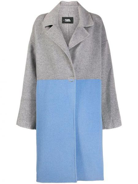 Klasyczny niebieski płaszcz wełniany Karl Lagerfeld
