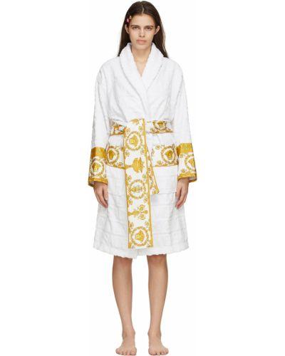 Biały długi szlafrok bawełniany z długimi rękawami Versace Underwear