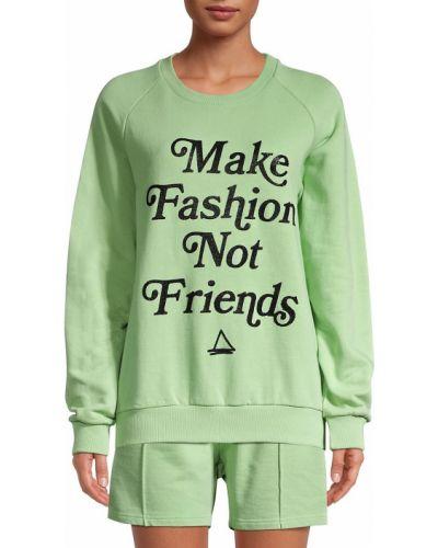 Хлопковый зеленый свитшот с манжетами Eleven Paris