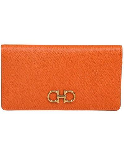 Pomarańczowy portfel skórzany Salvatore Ferragamo