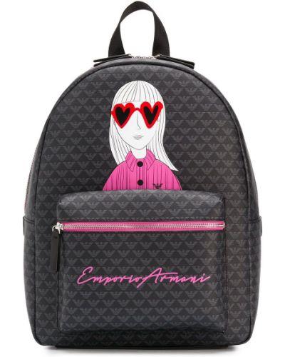 Czarny plecak z printem Emporio Armani Kids