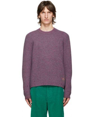 Фиолетовый шерстяной длинный свитер с воротником Gucci