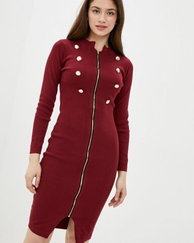Ватное хлопковое вязаное бордовое платье Fresh Cotton