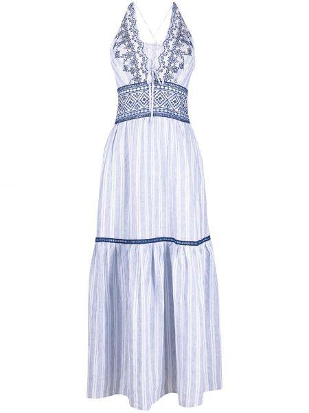 Льняное белое платье макси в полоску Ermanno Scervino