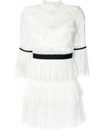Платье мини с поясом приталенное с воротником-стойкой Self-portrait