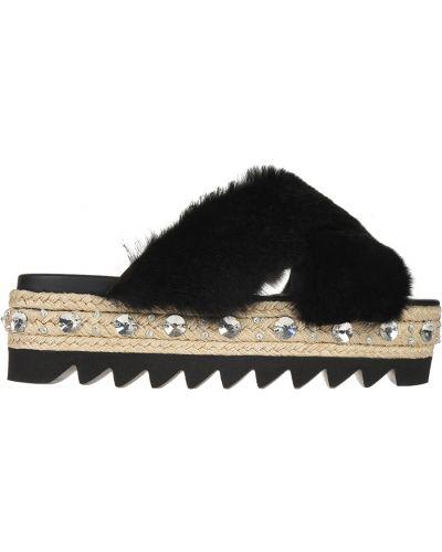 Кожаные шлепанцы - черные Le Silla