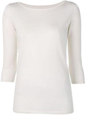 Прямой белый шерстяной тонкий свитер Sottomettimi
