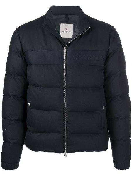 Puchaty czarny długa kurtka z długimi rękawami Moncler