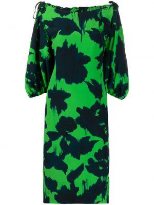 Zielona sukienka z printem materiałowa Delpozo