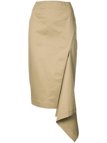 С завышенной талией юбка миди на молнии с карманами хаки Monse