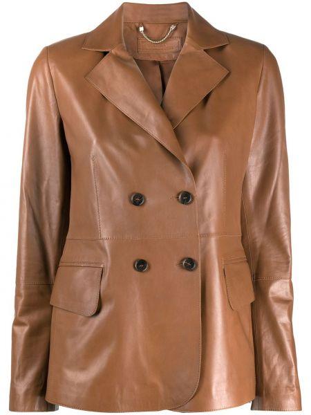 Коричневый кожаный пиджак двубортный Desa 1972