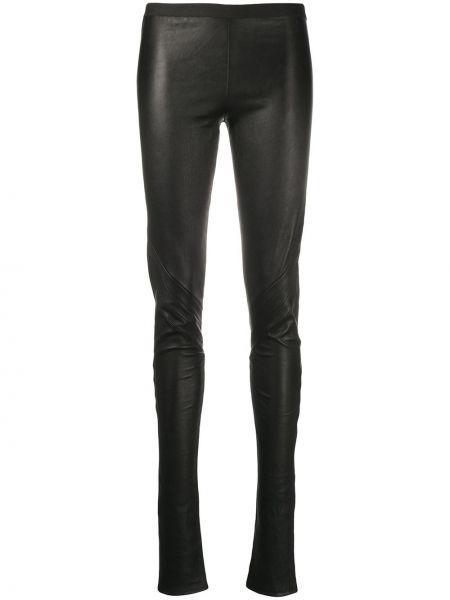 Czarne legginsy skorzane w paski Rick Owens