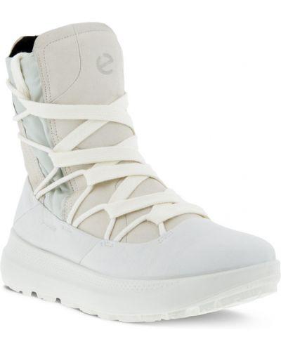 Полусапожки на шнуровке - белые Ecco