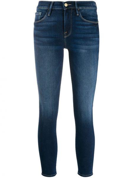 Хлопковые синие облегающие джинсы-скинни на молнии Frame