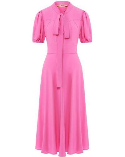 Шелковое платье миди - розовое No. 21