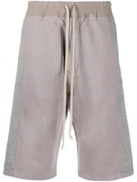 С кулиской хлопковые серые шорты с карманами Rick Owens Drkshdw