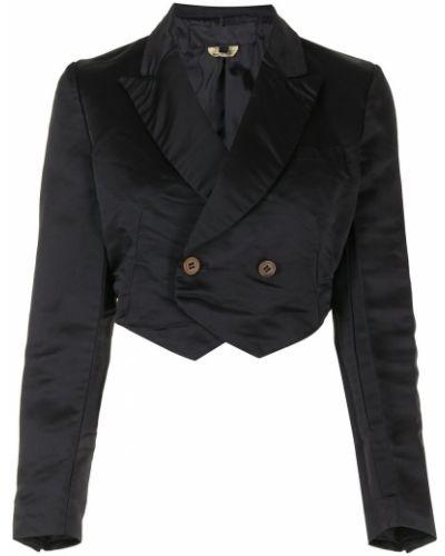Черная длинная куртка двубортная с карманами Comme Des Garçons Girl