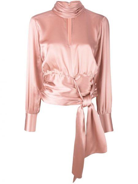 Блузка с длинным рукавом розовая с запахом Cinq A Sept