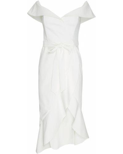 Платье с поясом с открытыми плечами с оборками Alice + Olivia