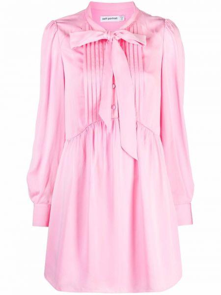 Платье макси с длинными рукавами - розовое Self-portrait