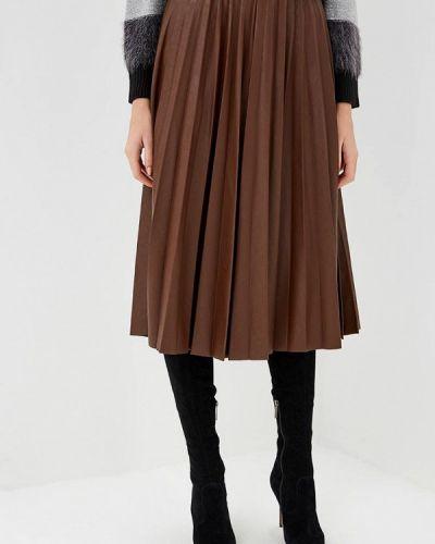 Плиссированная юбка коричневый итальянский Rinascimento