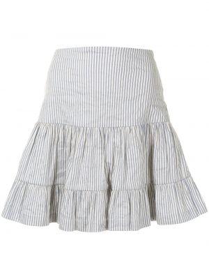 Белая с завышенной талией юбка в полоску Nicole Miller