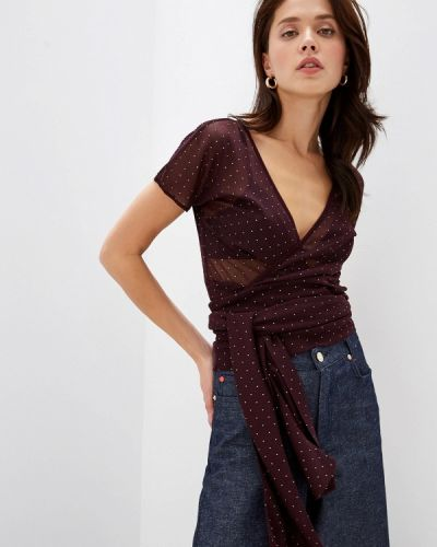Блузка с коротким рукавом бордовый красная Max&co