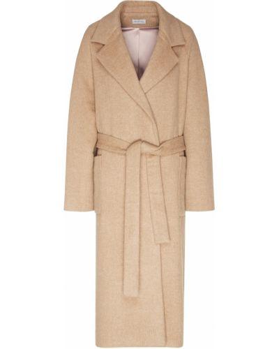Бежевое шерстяное пальто с накладными карманами ли-лу