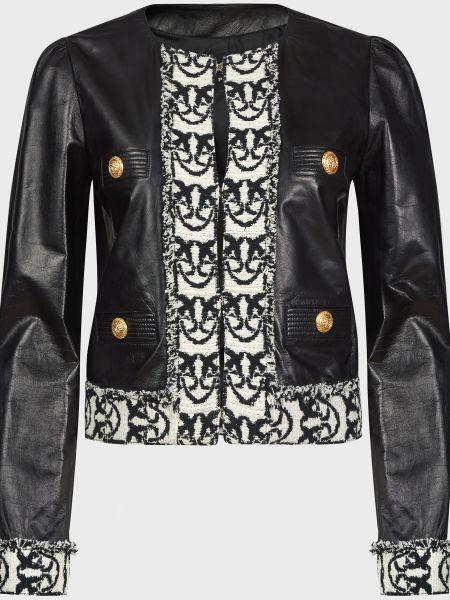 Черная кожаная куртка на крючках Pinko