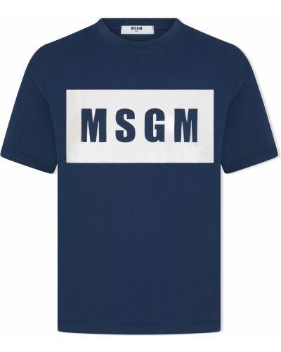 Niebieska koszulka z printem Msgm Kids