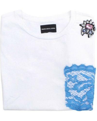 Biała koszulka krótki rękaw Marco Bologna