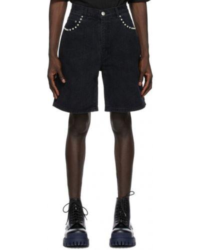 Черные джинсовые шорты с карманами с заплатками We11done