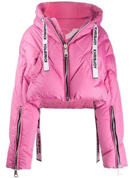 Розовая куртка с капюшоном с манжетами Khrisjoy