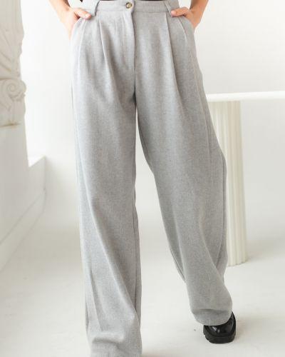 Серые брюки с карманами с завышенной талией Clew