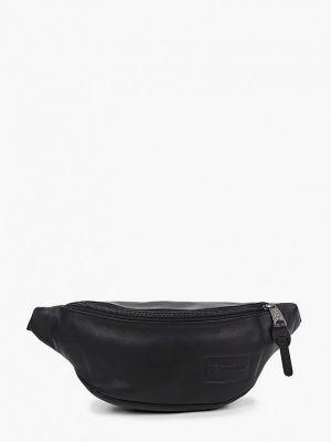 Черная кожаная поясная сумка Eastpak