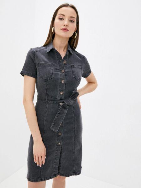 Джинсовое платье серое весеннее Zarina
