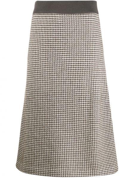 Кашемировая коричневая юбка с поясом Agnona