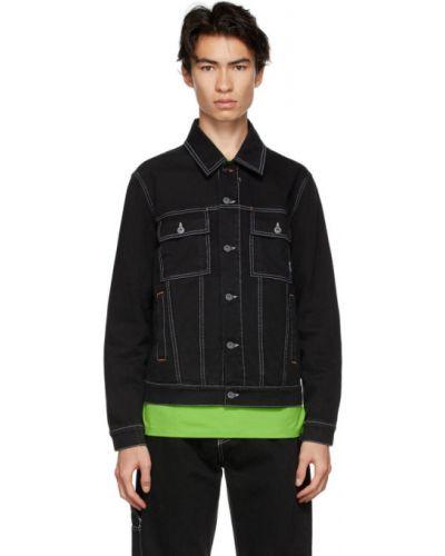 Белая джинсовая куртка с кокеткой стрейч с воротником Rassvet