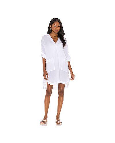 С рукавами белое платье мини с разрезом Seafolly
